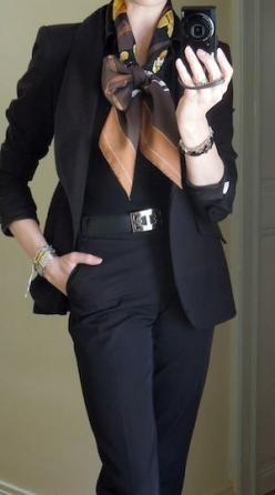 MaiTai's Picture Book - I have always loved suits and like the feminine addition of this scarf-tie: Style, Business Look, Work Wear, Black Outfit, Hermes Scarves, Black Suits, Picture Books, Work Outfits