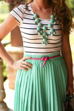 mint & stripes and that touch of pink :) perfection: Fashion, Style, Color, Dream Closet, Dress, Than, Outfit