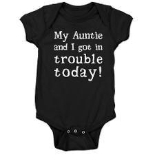 My Auntie and I got in trouble today! (White) Baby onsie. Click for more colors, styles & products.: Baby Onsie Auntie, Baby Onsies Ideas, Aunt Onsies For Boys, Baby Onsies Aunt, Aunt Baby Onsie, Auntie Onsies, Color, Auntie Gifts