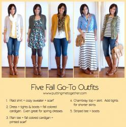 My five Fall go-to Outifts : 1. Plaid shirt + cozy sweater + scarf 2. Dress + thights & Boots + fall colored cardigan. Even great for spring dresses 2. Plain tee + printed scarf 4. Chambray top + skirt. Add tights for shorter skirts 5. Stripped tee +