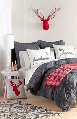 Nordstrom at Home 'Chloe' Duvet Cover | Nordstrom: Guest Room, Red And White Bedroom, Red And Grey Bedroom, Deer Head, Bedroom Style, Duvet Cover, Grey Red Bedroom