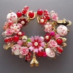PINK and NANA VINTAGE FLORAL CHARM BRACELET BY STELLA. by stella zhou, via Flickr: Idea, Charm Bracelets, Red, Charms, Vintage Floral, Jewelry, Accessories