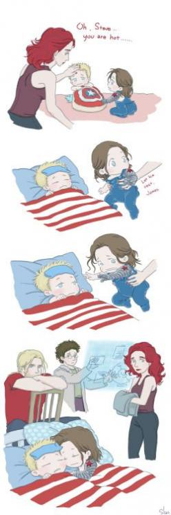 plumagesilas: Steve and Bucky babies: Sick by SilasSamle I meet my dentist…… my teeth… So this↑ poor Steve baby XD OMG LOOK AT TINY BUCKY'S LITTLE BUTTFLAP: Baby Steve And Bucky, Avengers Assemble, Steve And Bucky Babies, Marvel Dc, Captain America, Aveng