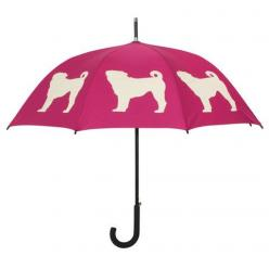 Pug Umbrella ~ Identify yourself and your favorite dog breed with this beautiful rain umbrella featuring a Pug silhouette image. Take this stylish umbrella with you to the park, on walks, on errands … wherever it's raining, this umbrella shows your de