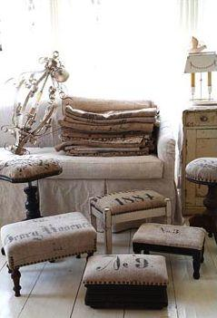 Re-upholster benches... foot stools - sack cloth inspiration: Grainsack, Burlap Sack, Burlap Ottoman, Burlap Stool, Coffee Sack, Burlap Footstool, Reupholstered Bench