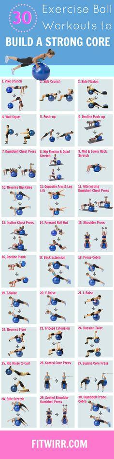 Stability ball exercises: Stability Ball Exercise, Core Workouts, Workout Routine, Fitness Exercise, Ball Exercises, Exercise Ball, Ball Workout, Work Out