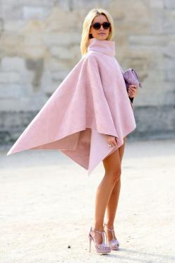 street style: Paris Fashion Week Spring 2015... | Follow @shopstc for daily #fashion #inspiration: Inspiration, Capes, Street Style, Dress, Outfit, Street Styles, Paris Fashion Weeks