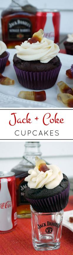 Stress Baking | Jack and Coke Cupcakes: Need an alcoholic dessert? Of course you do. An improved version of my most pinned recipe of all time! Rich chocolate cola cupcakes filled with a whiskey chocolate ganache and topped with a creamy whiskey buttercrea