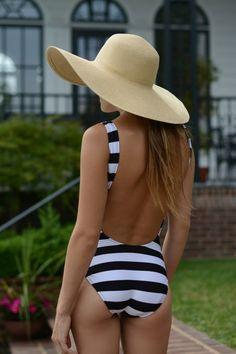 Stripes + floppy hat