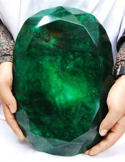 Teodora: Weighing in at a hefty 11 kilos (57,500 carats), the world's largest faceted 'emerald' was mined in Brazil and cut in India. Its name is Portuguese for gift of god.: Gemstones, Emeralds, Worlds Largest, Biggest Emerald, Mineral, Largest Emerald,