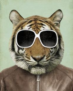 The Cool Tiger in Sunglasses 8x10 Art Print. $18.00, via Etsy.: Cats, Wood Block, Animals, Tigers, Photo, Design