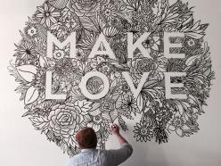 The lady and I did a pretty little (well, big actually) drawing for the MAKE LOVE Valentine's party tonight.: Wall Drawing, Classroom Murals, Typography Murals, Community Murals, Typography Wall, Design