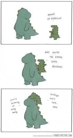 This would make a cute Father's Day card...: Dad, Buildings Can T, Dinosaur, Funny Stuff, Godzilla, Humor, Things