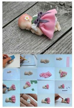 Tutorial fondant https://www.facebook.com/pages/G%C3%B6n%C3%BClce-Kurabiye-Cupcake/242439092551867?ref_type=bookmark: Shower Cake, Baby Cake, Fondant Figures, Baby Girl, Polymer Clay, Fondant Baby Tutorial, Baby Shower, Cake Toppers