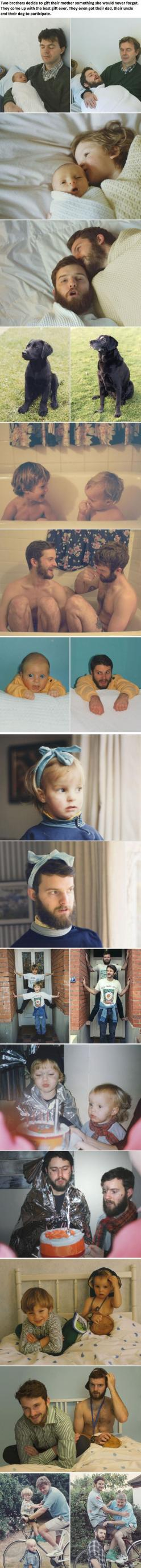Two Awesome Brothers Come Up With a Brilliant Idea...: Idea, Gift, Mothers, Photo Recreation, So Funny, Awesome Brothers