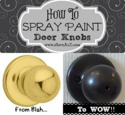 Update your door knobs ON THE CHEAP!!!: Sprays, Craft, Idea, Paint Doors, Doorknobs, Spraypaint, Update Door, Paint Door Knobs