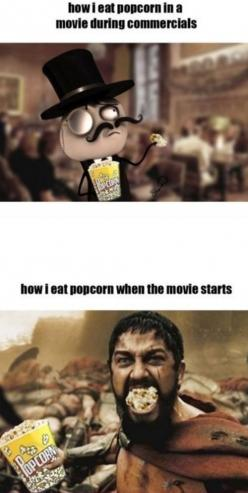 very true...although... it's more fun eating it like the bottom picture all of the time :): Eat Popcorn, Giggle, Truth, Funny Stuff, Movie, So True, True Stories