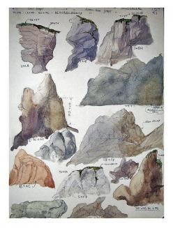 Vintage watercolor study of rock mounds. ca 1940-1970.: Acrylic Painting Rocks, Watercolors, Vintage Watercolor, Rock Mounds, Watercolor Study, Case, Acrylic Rocks