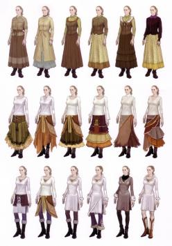 Ways to wears skirts and tops in layers and combinations.  (Originally from Devil May Cry 4 Art Book.): Layered Skirt, Midevil Costumes, Steampunk Skirt Pattern, Clothing Guide, Costume Inspiration, Art Book, Midevil Dress, Midevil Clothes, Wears Skirts