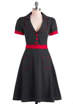 Worn With Aplomb Dress - Long, Cotton, Black, Red, White, Polka Dots, Buttons, Pockets, Casual, Rockabilly, Vintage Inspired, A-line, Shirt Dress, Short Sleeves: Fashion, Aplomb Dress, Worn, Clothes, Modcloth, Retro Vintage Dresses, Vintage Inspired Dress