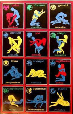 Zodiac sex positions Capricorn Aquarius Pisces Aries Taurus Gemini Cancer Leo Virgo Libra Scorpio Sagittarius... [In my opinion, the descriptive word is not always in-sync w/icon ~ but tht's jst me!] Frm Wibbels' bd: Astrology: Zodiac Signs, Books