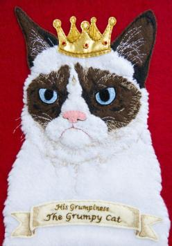 Grumpy Cat Embroidery | Community Post: 20 Awesome Internet Meme Crafts: 20 Awesome, Birthday Card, Grumpycat Fanart, Internet Meme, Meme Crafts, Grumpy Cat, Baby Cats, Awesome Internet