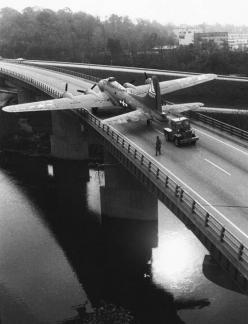 1957 : B-17 bomber being towed to a USAF museum: History, B17, Usaf Museum, Flying Fortress, Aircraft, Bridge, Photo