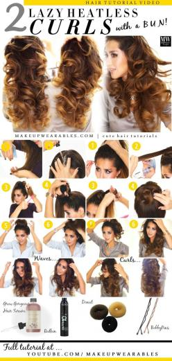 2 Lazy Ways to Curl Your Hair Overnight | Heatless Curls: Heatless Wave, Lazy Hairstyle, Curls Tutorial, Heatless Curl, Bun Curl, Overnight Wave, Overnight Curl, Easy Work Hairstyle