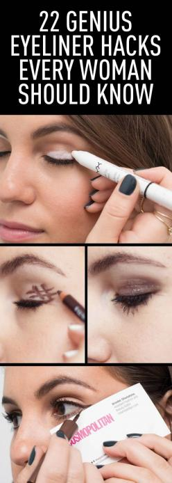 △▽△ 22 Genius Eyeliner Hacks Every Woman Needs to Know: Beauty Tips, Beauty Hacks, 22 Genius, Makeup Tips, Eyeliner Hacks, Liquid Liner, Genius Eyeliner, Eyeliner Style, Christmas Hair Style