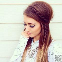 29 Chic Boho Hair #Styles Your Hair Wants Now ... → Hair #Hairstyles: Hair Colors, Hairstyles, Hair Styles, Hair Makeup, Half Up Braid, Updo