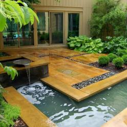 A garden attached to the house where one is able to meditate. A clever design with a peaceful purpose. Click on the pin to see how this design was implemented.: Garden Ideas, Garden Design, Water Features, Dream, Outdoor, Gardens, Waterfeature, Backyard,