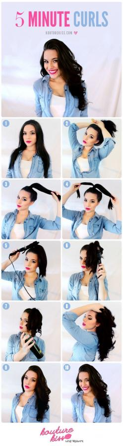 Ahorre tiempo rizar el cabello poniéndolo en una cola de caballo primero. | 47 Lazy-Girl Beauty Hacks Everyone Should Know: Hair Ideas, Easy Hairstyles, Hair Tutorials, Hair Styles, Makeup, Beauty, 5 Minute Hairstyles, 5 Minute Curls