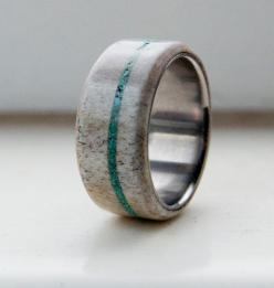 Antler and Turquoise Mens wedding band Titanium by StagHeadDesigns, $230.00: Men Wedding Bands, Antlers, Antler Wedding Ring, Turquoise Wedding Band, Turquoise Rings, Turquoise Weddings, Antler Ring