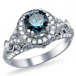 Blue Diamond White Gold Vintage Style Ring  http://www.eandcweddings.com/1-35ct-blue-round-diamond-engagement-ring-14k-white-gold-vintage-style/: Diamond Engagement Rings, Engagementring, Blue Round, Gold Vintage, 14K White, Round Diamonds, White Gold, Vi