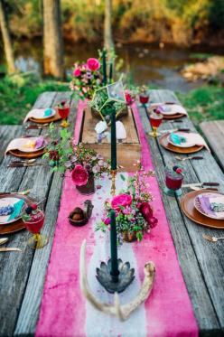 Bohemian wedding tablescape | Paula Bartosiewicz Photography | see more on: http://burnettsboards.com/2014/05/bohemian-gemstone-shoot-diy-elements/ #bohemian #wedding #tablescape: Table Settings, Boho Wedding Table, Wedding Ideas, Bohemian Wedding, Event,