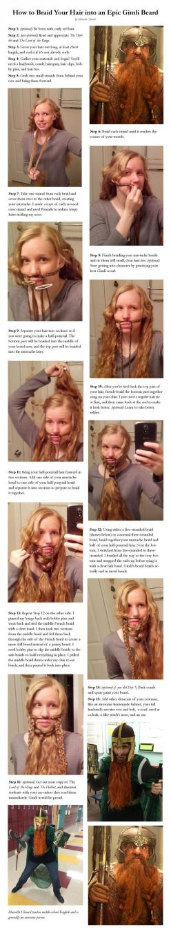 Braid long hair into an epic LOTR Gimli the Dwarf beard!: Beards, Epic Gimli, Hair Tutorial, Hairs, Long Hair, Gimli Beard, Costume