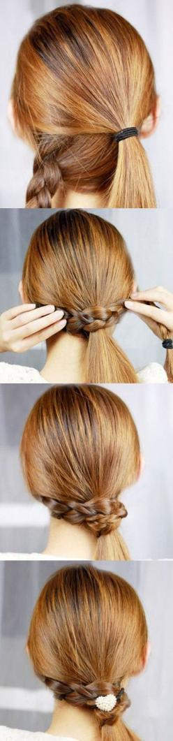Braid wrapped side pony!  See how great it looks with a Flexi-Clip here: https://www.facebook.com/photo.php?fbid=454738991215607=a.209389062417269.53752.209265399096302=1_count=1: Pony Tail, Hairstyles, Ponytail, Hairdos, Hair Styles, Makeup, Hair Do