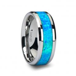 CAESAR Men's Tungsten Wedding Band with Opal Inlay from Wedding Bands HQ: Quasar Tungsten, Blue Green, Tungsten Wedding Bands, Weddings, Tungsten Carbide, Wedding Rings, Opals