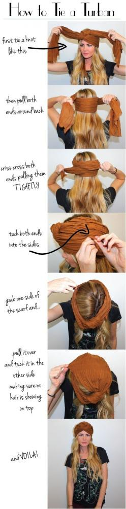 Cover a bad hair day with a turban. | 26 Lazy Girl Hairstyling Hacks. I will never be able to do this: Headwrap, Head Wraps, Tie, Bad Hair, Hairstyle, Turbans, Head Scarf
