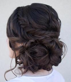 Curly Side Bun + Fishtail Braid - prefect festival hair style...x: Updo Hairstyle, Hairstyles, Bridesmaid Hair, Hair Styles, Messy Updo, Updos, Hair Updo
