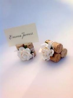 Discover summer wedding place card holder & table décor ideas at www.karasvineyardweddingshop.com  We specialize in custom wine theme wedding decor, with dozens of artisan materials & colors available to choose from!: Place Card Holders, Cork Wedd