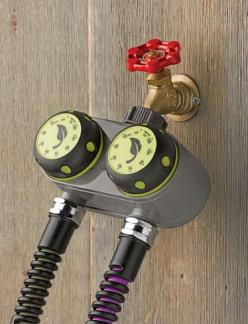 Dual Manual Water Timer. Save time and water! This easy-to-use manual water timer lets you water two zones from one faucet. Simply turn each knob to set the watering time and the water shuts off automatically.: Irrigation Controller, Ideas, Dual Manual, M