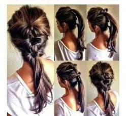 Easy hairdo. Make a small ponytail and then tuck the hair under that ponytail.: Hair Ideas, Pony Tail, Ponytail, Hairstyles, Hairdos, Hair Styles, Hair Do, Updo