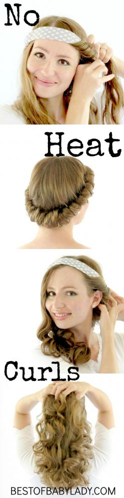 Easy, no heat curls WWW.BESTOFBABYLADY.COM: Headband Curl, Hair Styles, Hair Tutorial, Heat Curls, Hairstyle, Easy No Heat Curl, Curls Www Bestofbabylady Com