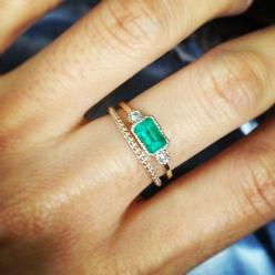 Emerald Lexie Ring & Milli Band | Jennie Kwon Designs | #instagram: Wedding Ring, Shiny Things, Jewel, Emerald Rings, Birthstone, Engagement Rings