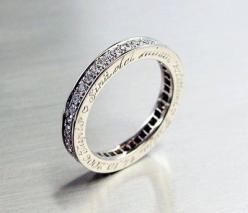 Eternity ring made from white gold and diamonds tot. 0,84 ct F-Vs. Engraving on the side.    When ordering you can choose your own text to be engraved on the side of the ring, with max. 40 letters.: Diamond Rings, Wedding Ideas, Diamonds, Diamond Eternity