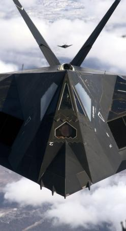 F-117 Nighthawk / a single-seat, twin-engine stealth ground-attack aircraft, A product of Lockheed Skunk Works. The F-117 was the first operational aircraft to be designed around stealth technology. The Air Force retired the F-117 on 22 April 2008. Sixty-
