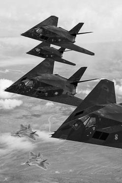F-22s & B-117s. Get your binoculars out North Korea. It's a pretty sight if you can see them. You won't hear or detect'em.: Air Force, F22, Aircraft, F 22 Raptors, Jet, F 117 Nighthawk