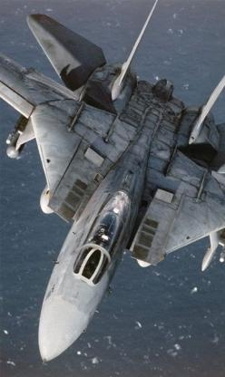 F14 again. Slats in the top of the intakes to regulate airflow to the engines and deal with shockwaves.: Military Aircraft, Air Force, Airplane, Aircraft, F14 Tomcat, F 14 Tomcat, Jet Fighter, Fighter Jets