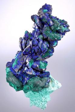 Fine crystals of Azurite and Malachite ps after Azurite on Malachite- From the Morenci Mine, Morenci, Greenlee County, Arizona.: Precious Stones, Exceptional Minerals, Gem Stones, Minerals Crystals, Minerals Gems, Rocks Gems Minerals